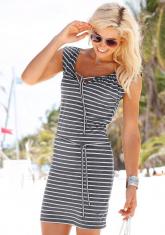 VENICE BEACH strandjurk met koordjes en streepdessin